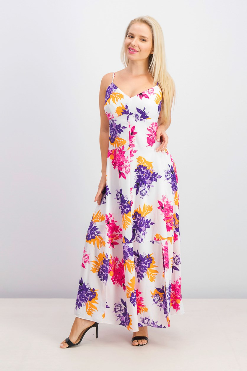 Women's Floral-Print Maxi Dress, Tropical Garden