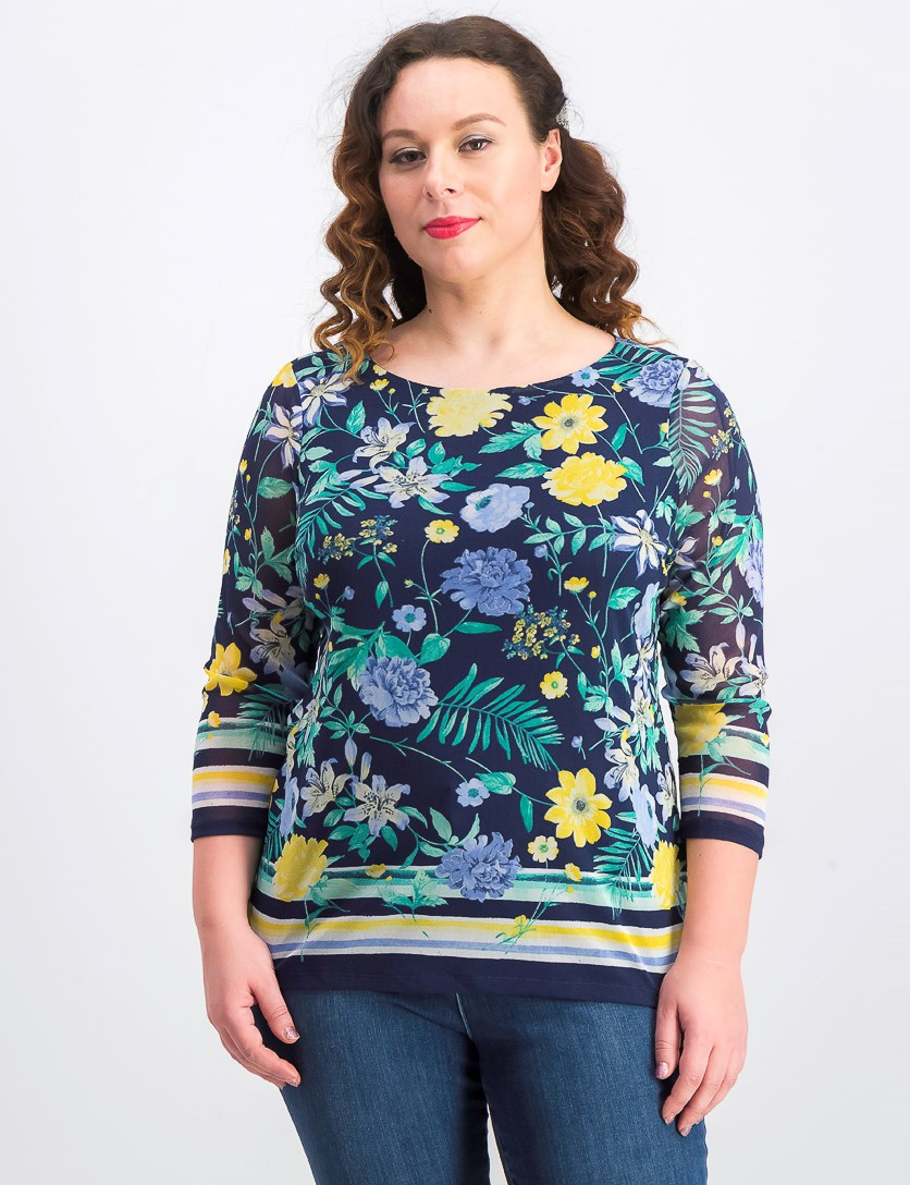 Women's Floral-Print Boat-Neck Top,  Intrepid Blue