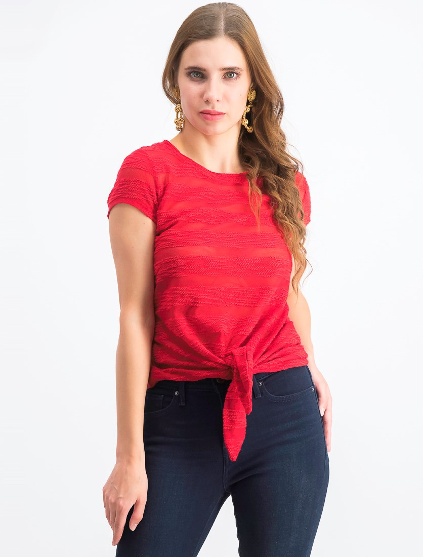 Women's Illusion Tie-Front T-Shirt, Real Red