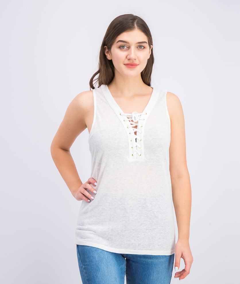 Women's Lace-up Top, White
