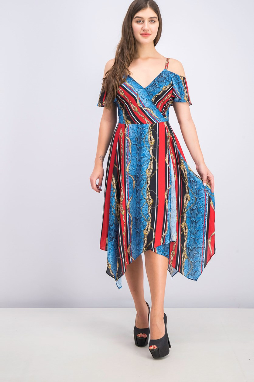 Women's Cold-Shoulder Surplice Dress, Snake Belt Stripe