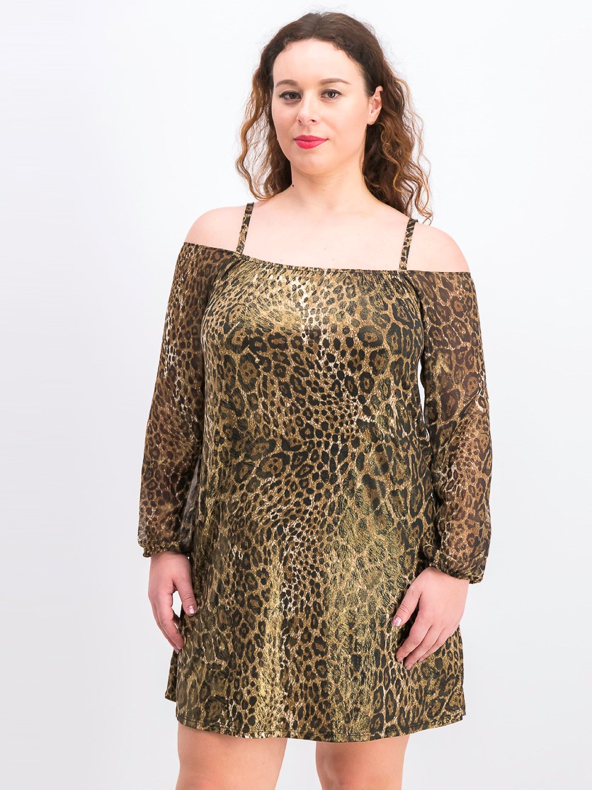 Women's Cold-Shoulder Animal-Print Dress, Black Combo