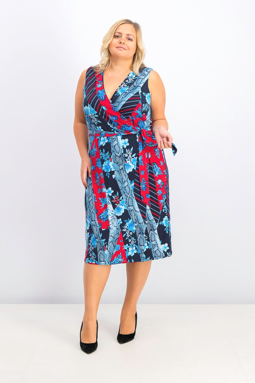 Womens Plus Size Patchwork Wrap Midi Dress, Broken Flowers