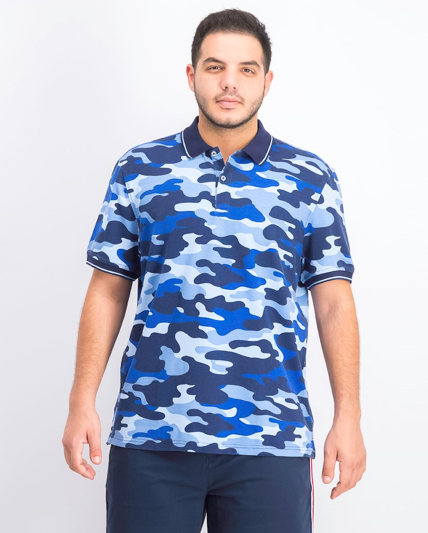 Men's Tipped Collar Camo Polo, New Cerulean