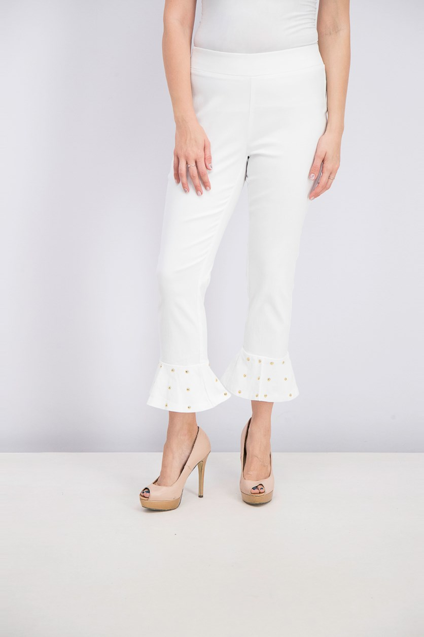 Women's Studded Ruffle-Hem Pants, Bright White