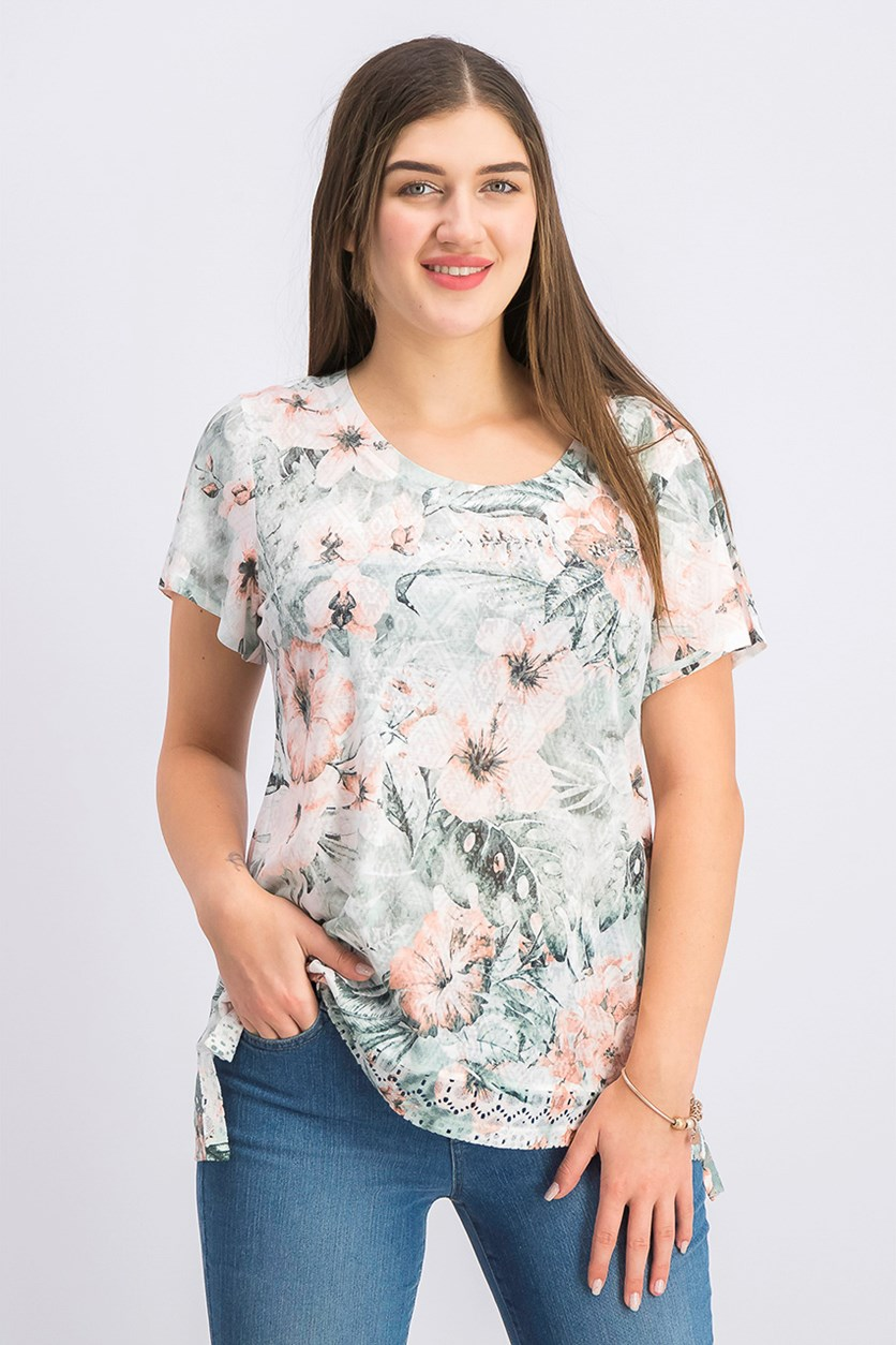 Women's Printed Studded Top, Tropic Palms