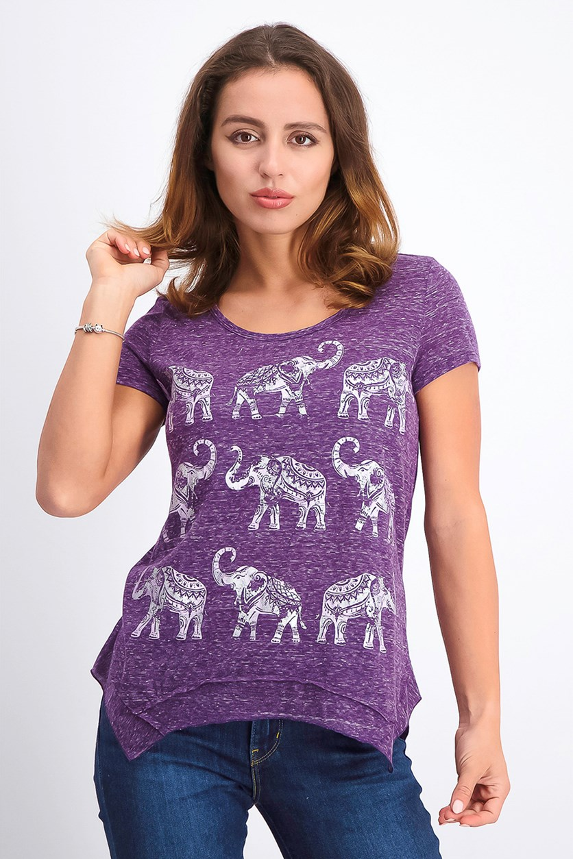 Women's Petite Graphic-Print T-Shirt, Rule Elephants
