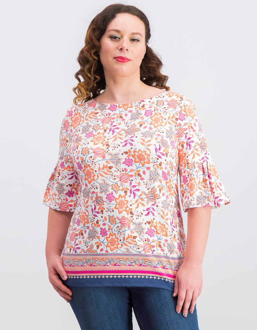 Women's Printed Bell-Sleeve Top, White/Pink Combo