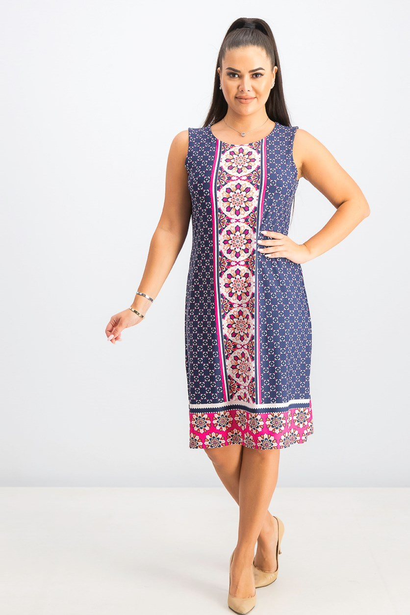 Women's Mosaic-Printed Shift Dress, Moroccan Pink Combo