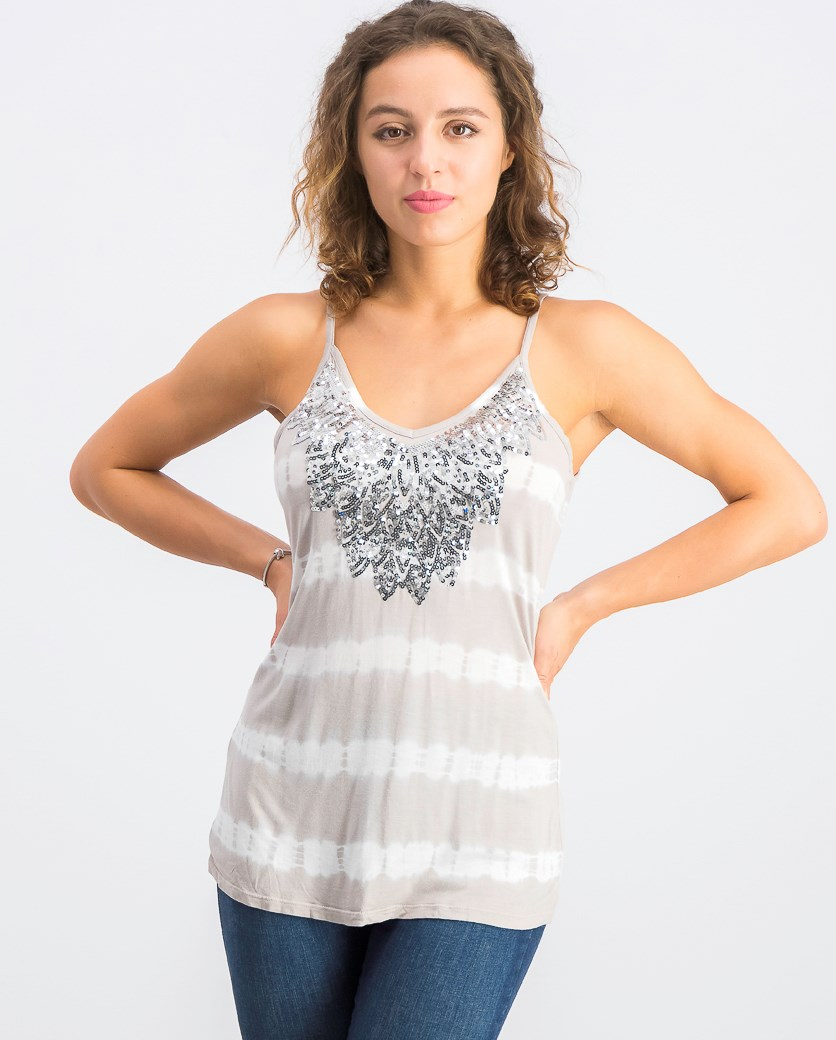 Women's Embellished Tie-Dyed Tank Top, Fresh Cement