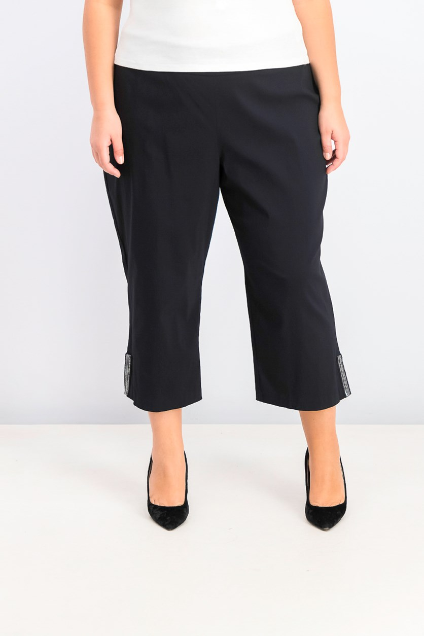 Plus Size Embellished-Hem Capri Pants, Black