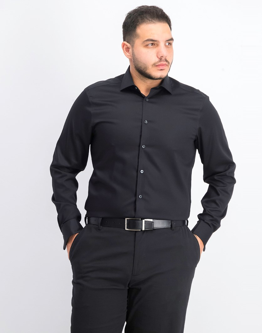Men's Slim-Fit Non-Iron Performance Black French Cuff Dress Shirt, Black