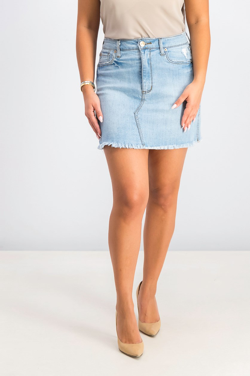 Women's Frayed Denim Skirt, Blue