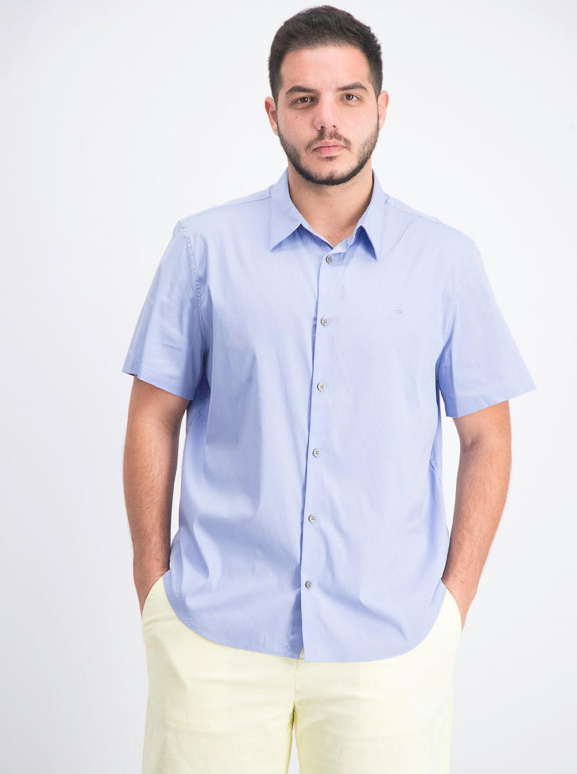Men's Solid Stretch Button-Down Shirt, Hail