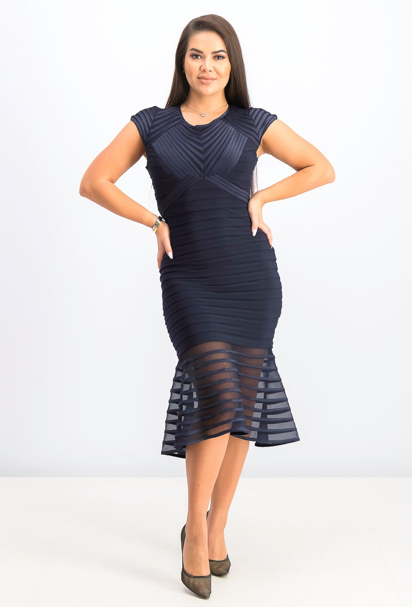 Women's Cap Sleeve Textured Knit Dress, Navy
