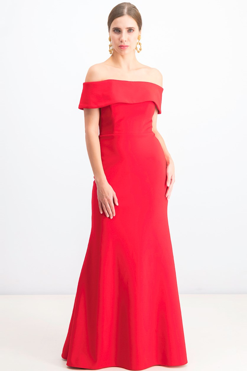 Women's Off-the-Shoulder Scuba Crepe Gown, Red