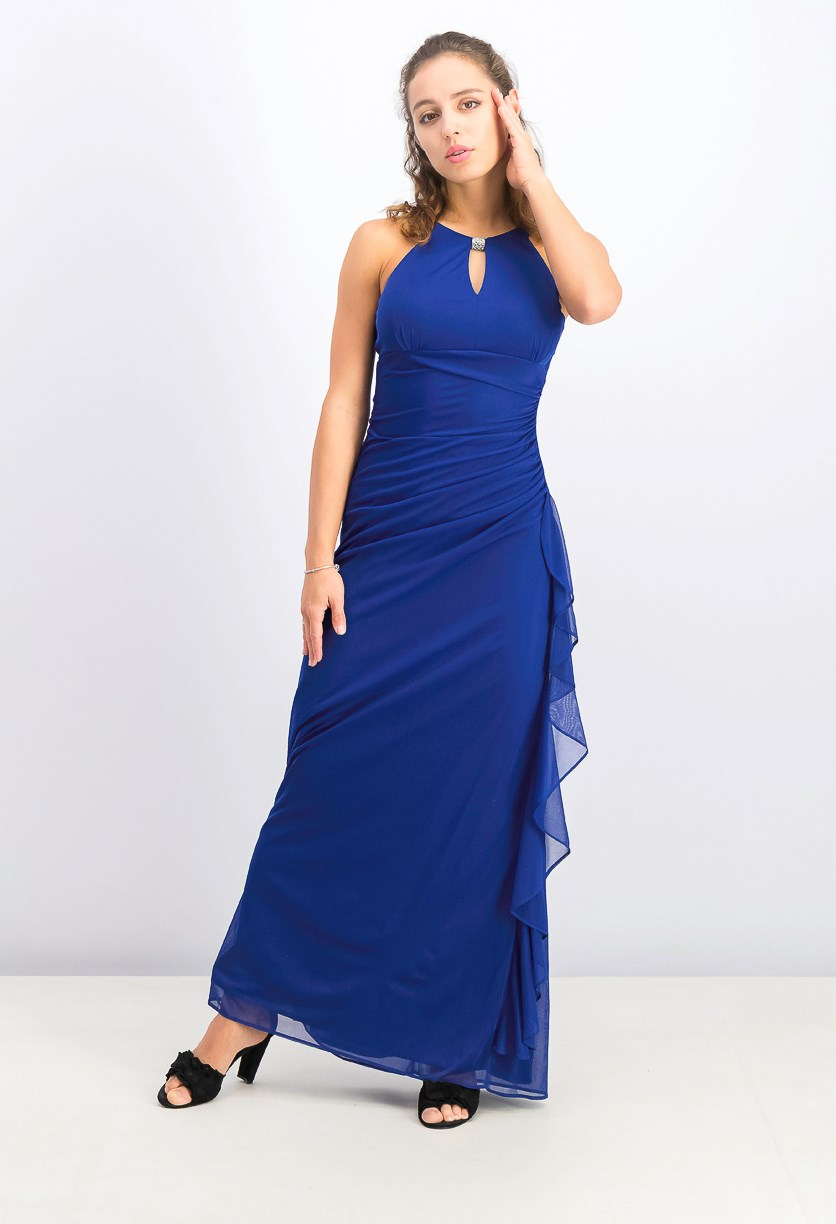 Women's Ruched Halter Gown, Royal Blue