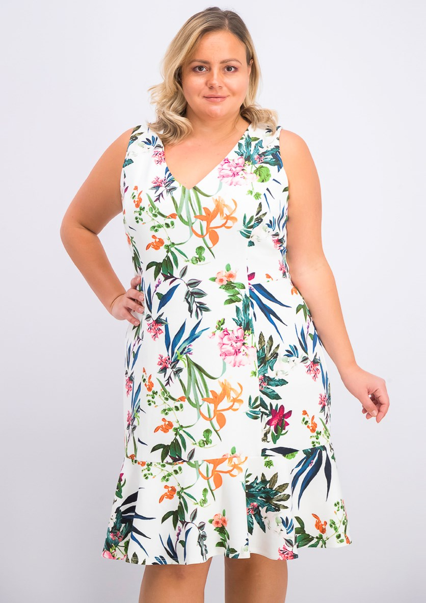 Women's Plus Size Floral Printed  Flounce-Hem Dress, Ivory Combo