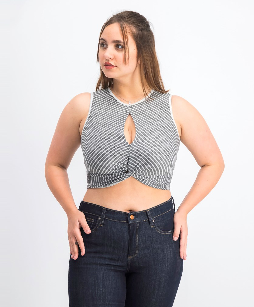 Women's Sleeveless Cropped Top, Grey