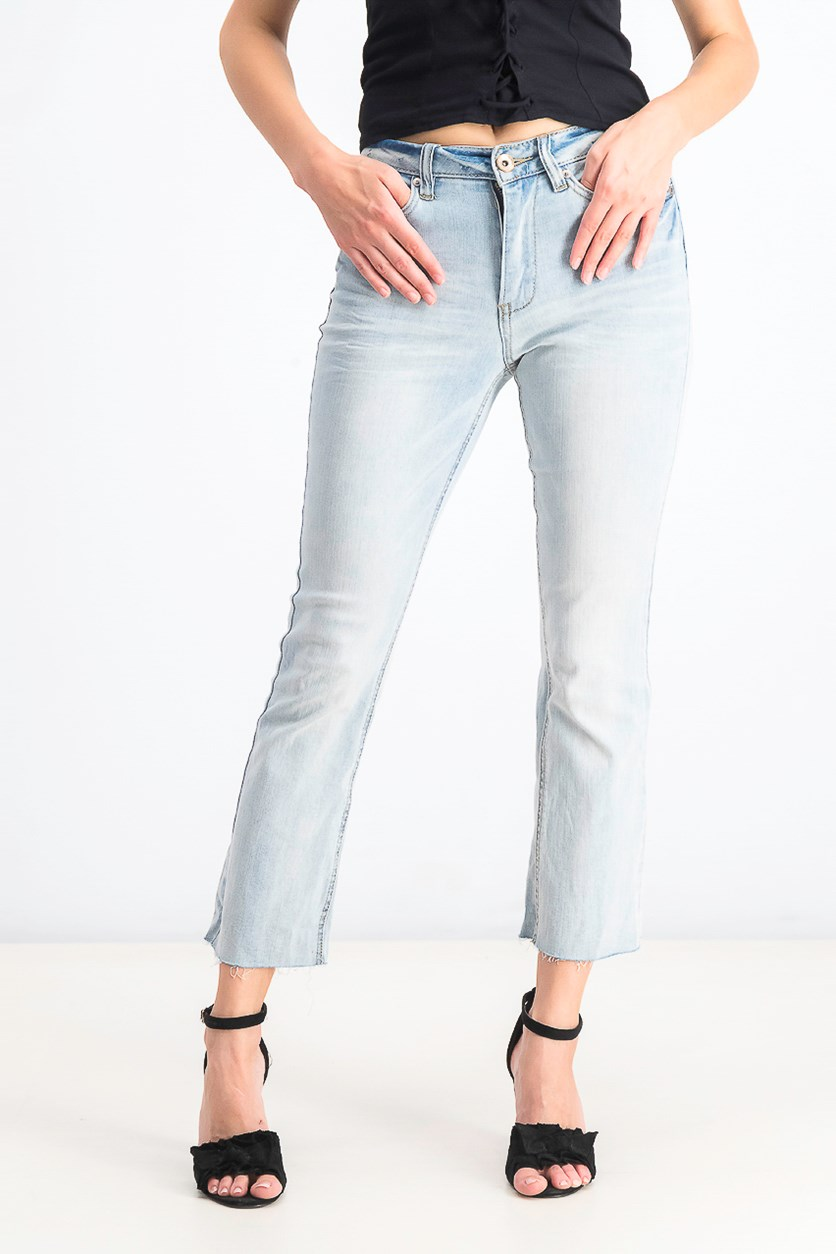 Juniors' Cropped Bootcut Jeans, Light Wash