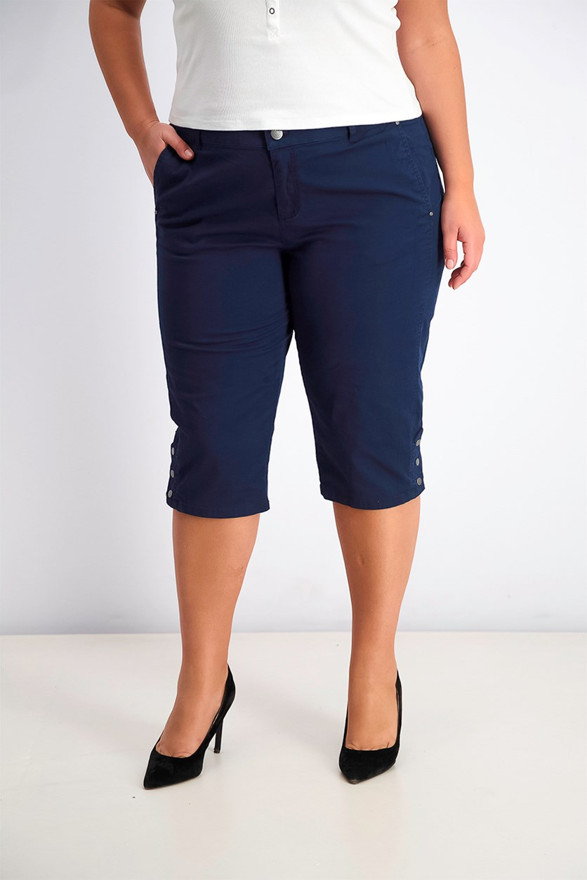 Womens Snap-Button Capri Pants, Industrial Blue