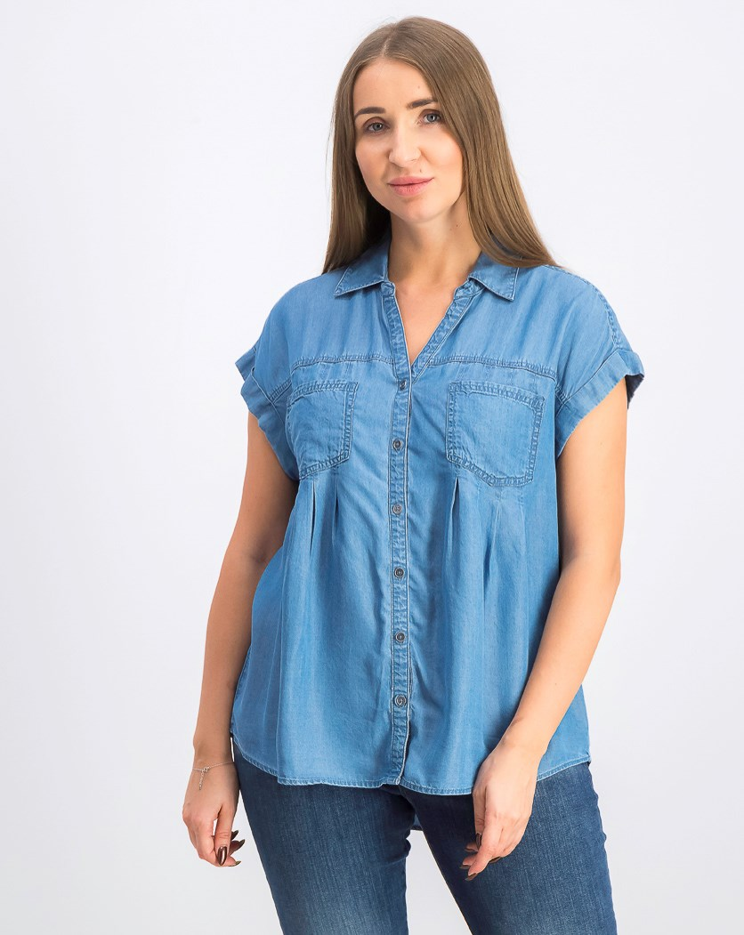Petite Pintucked Chambray Shirt, Sun Wash