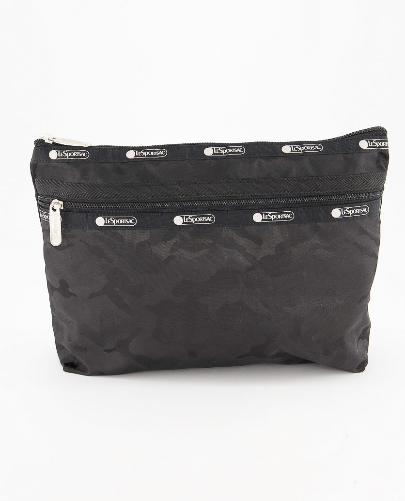Taylor Large Top Zip Camouflage Cosmetic Case, Black