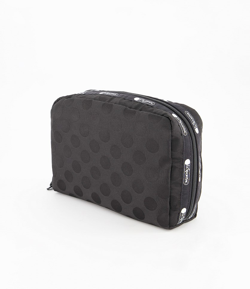 Candace Large Top Zip Polka Dots Cosmetic Case, Black