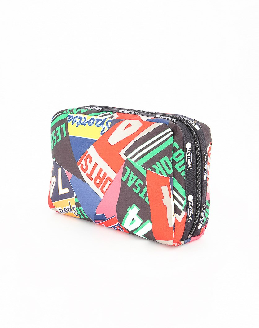Candace Large Top Zip Varsity Collage Cosmetic Case, Black Combo