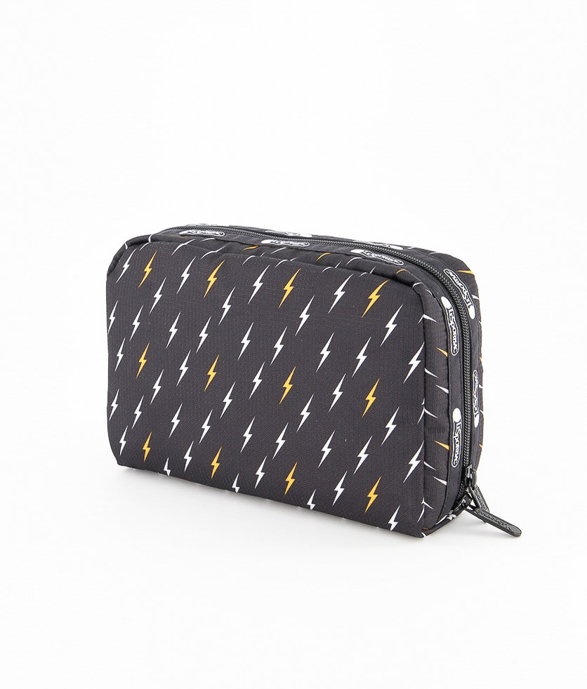 Women's Lightning Bolt Large Top Zip Cosmetic Case, Black