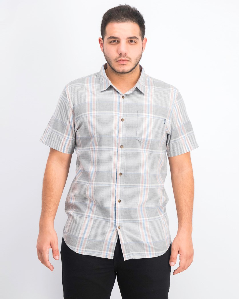 Men's Scratch Plaid Shirt, Heather Grey