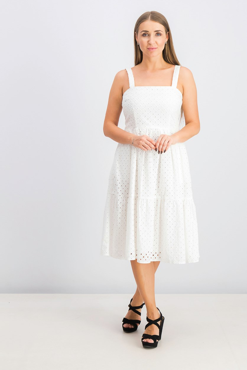Women's Sleeveless Eyelet Sundress, Ivory