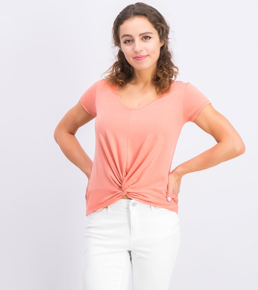 Women's Juniors' Twist-Front T-Shirt, Canyon Clay