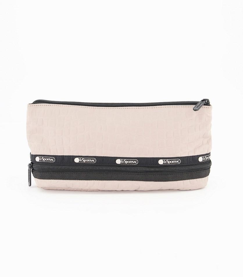Expandable Cosmetic Bag, Beige/Black