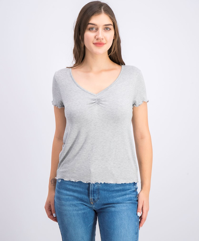Women's Juniors' Ruched T-Shirt, Light Heather Grey