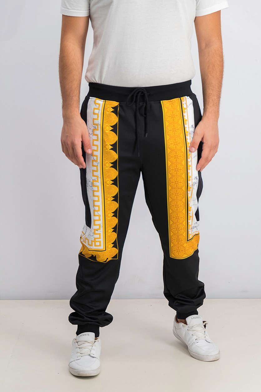 Men's Marble & Gold Track Pants, Black/Yellow Combo