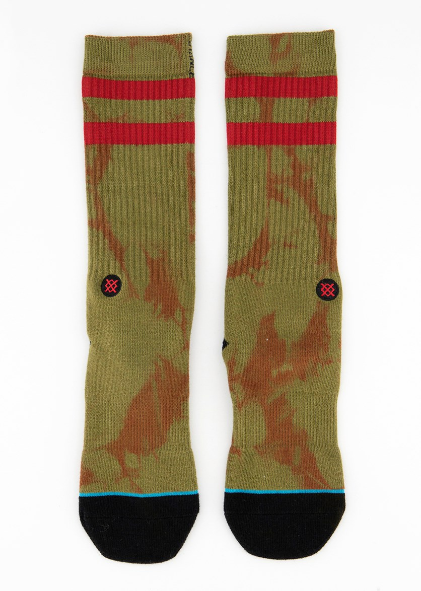 Men Graphic  Socks, Olive/Black/Maroon
