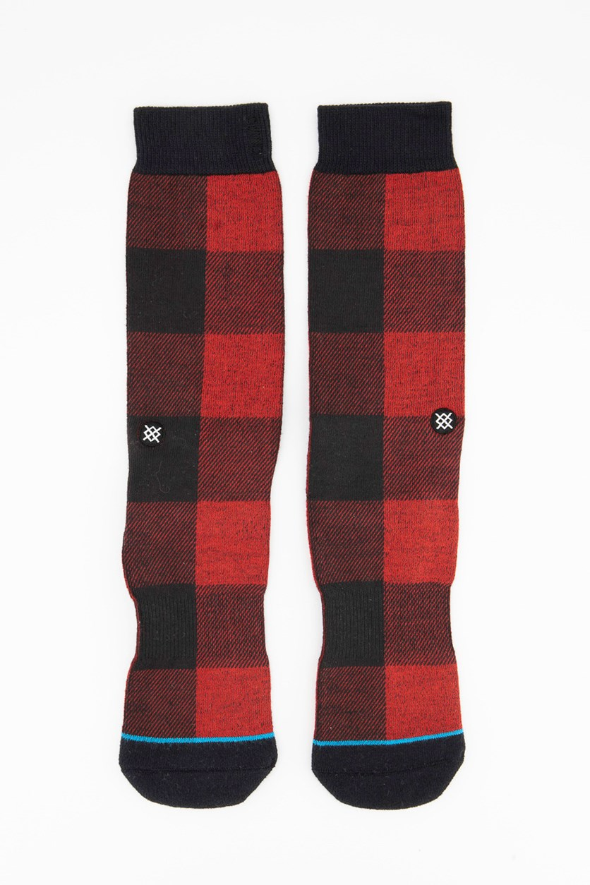 Men's Buffalo Plaid Socks, Red/Black