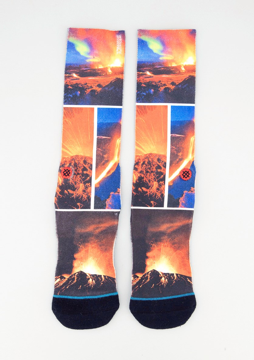 Men Graphic Printed Socks, Orange/Blue