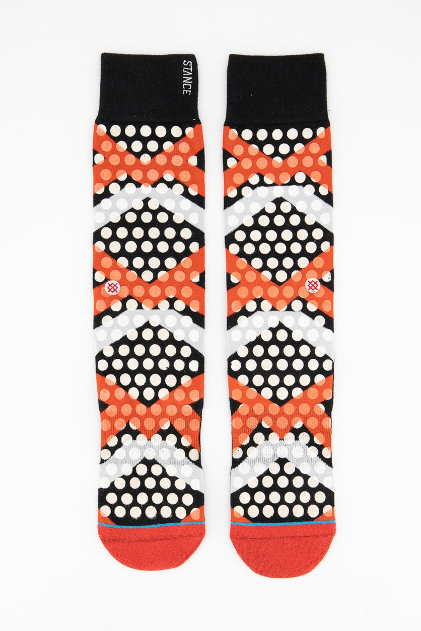 Men Graphic Printed Socks, Black/Red/White