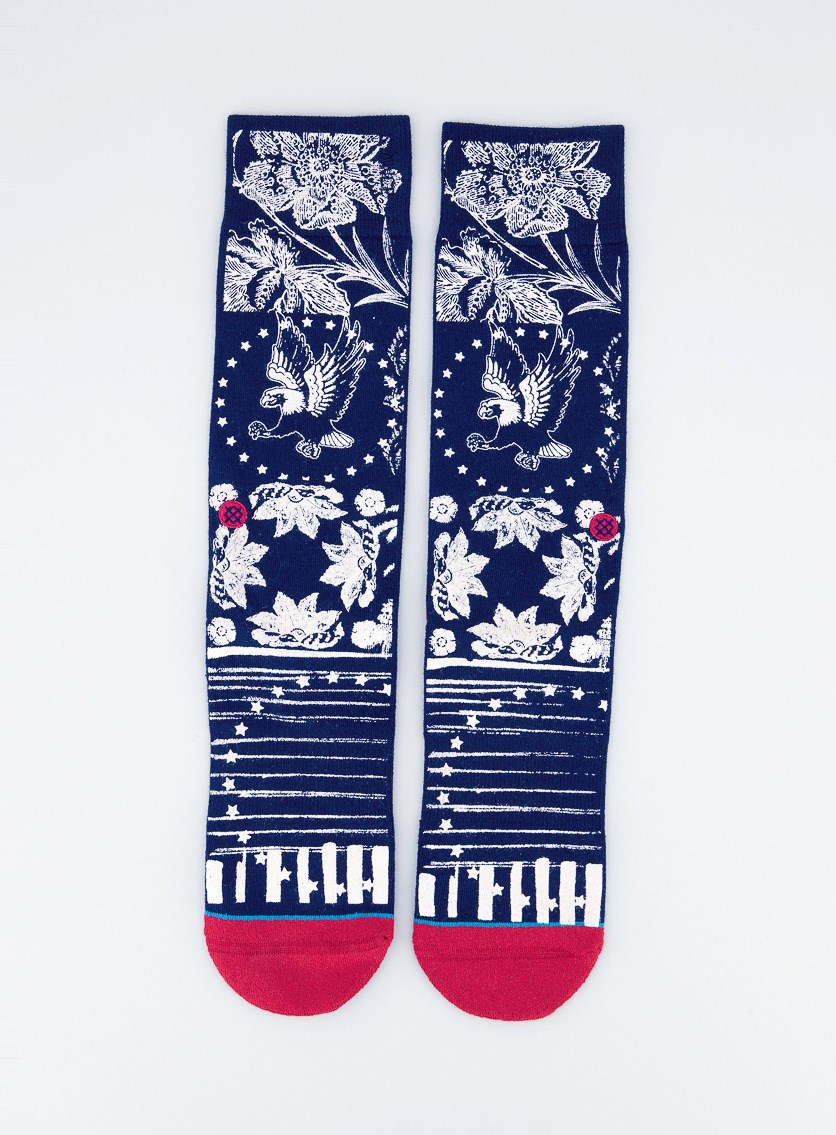 Men's 'Star Garden' Floral Socks, Red/Navy
