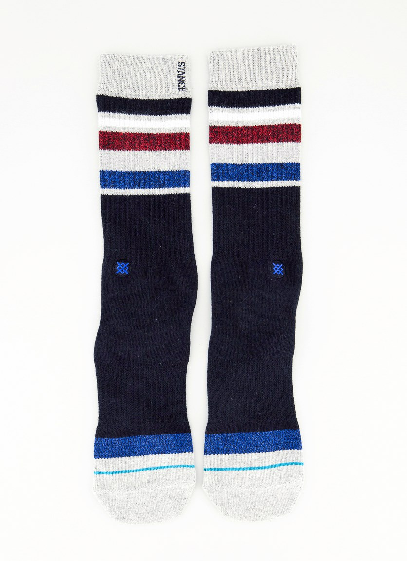 Men's Classic Light Pinpoint Socks, Black/Grey/Blue/Maroon
