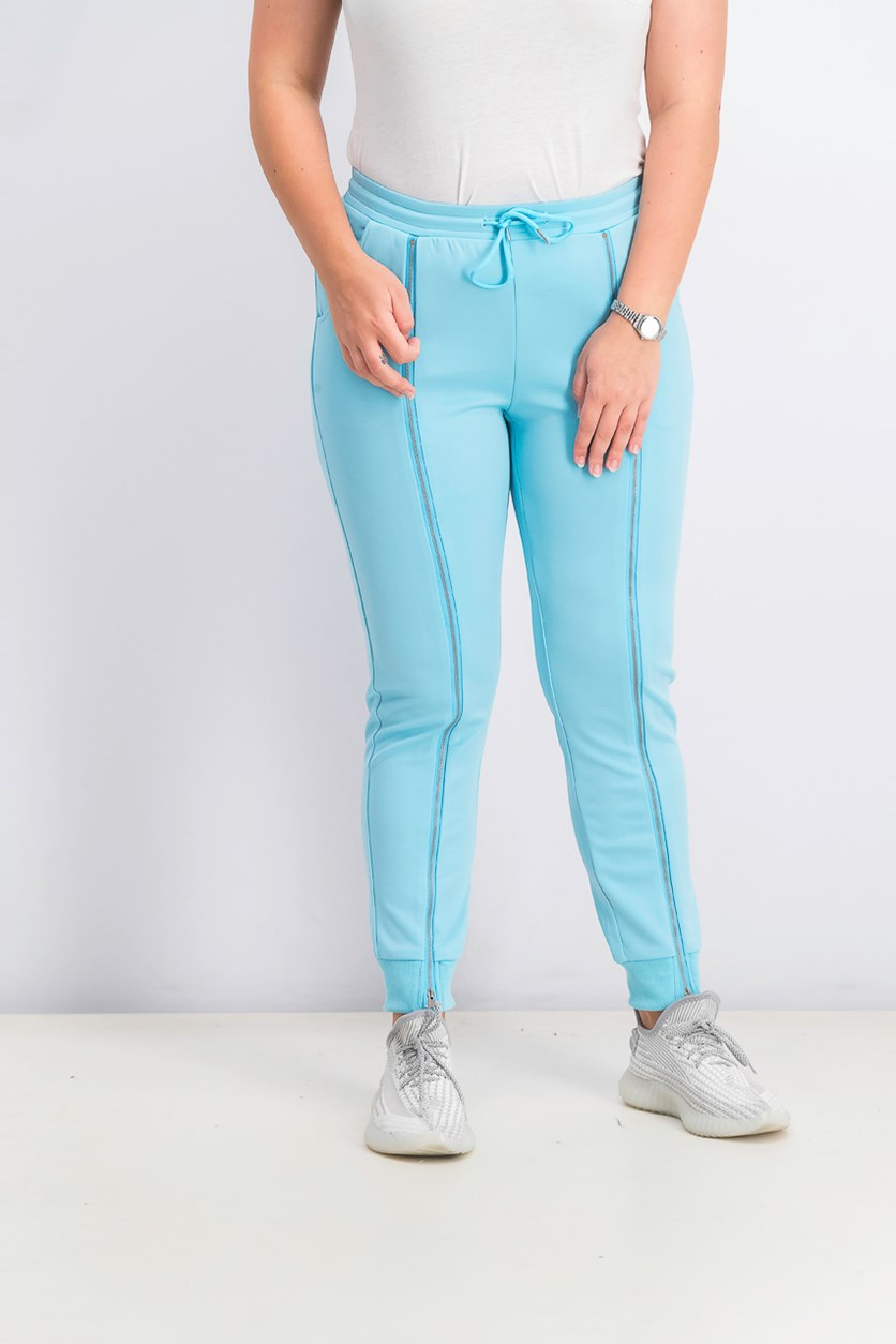 Women's Waisted Zippered Jogger Pants, Turquoise