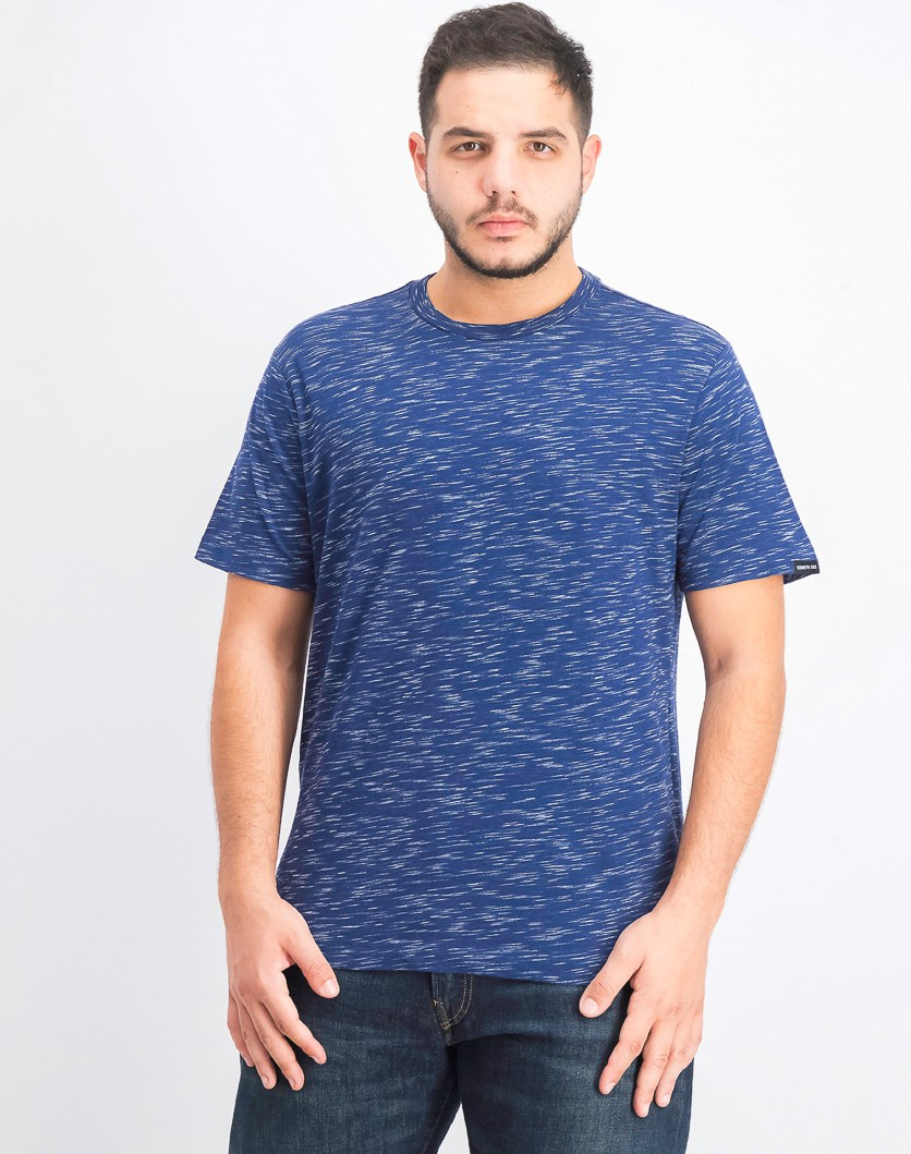 Men's Spaced Dye Crew Neck Shirt, Tech Blue