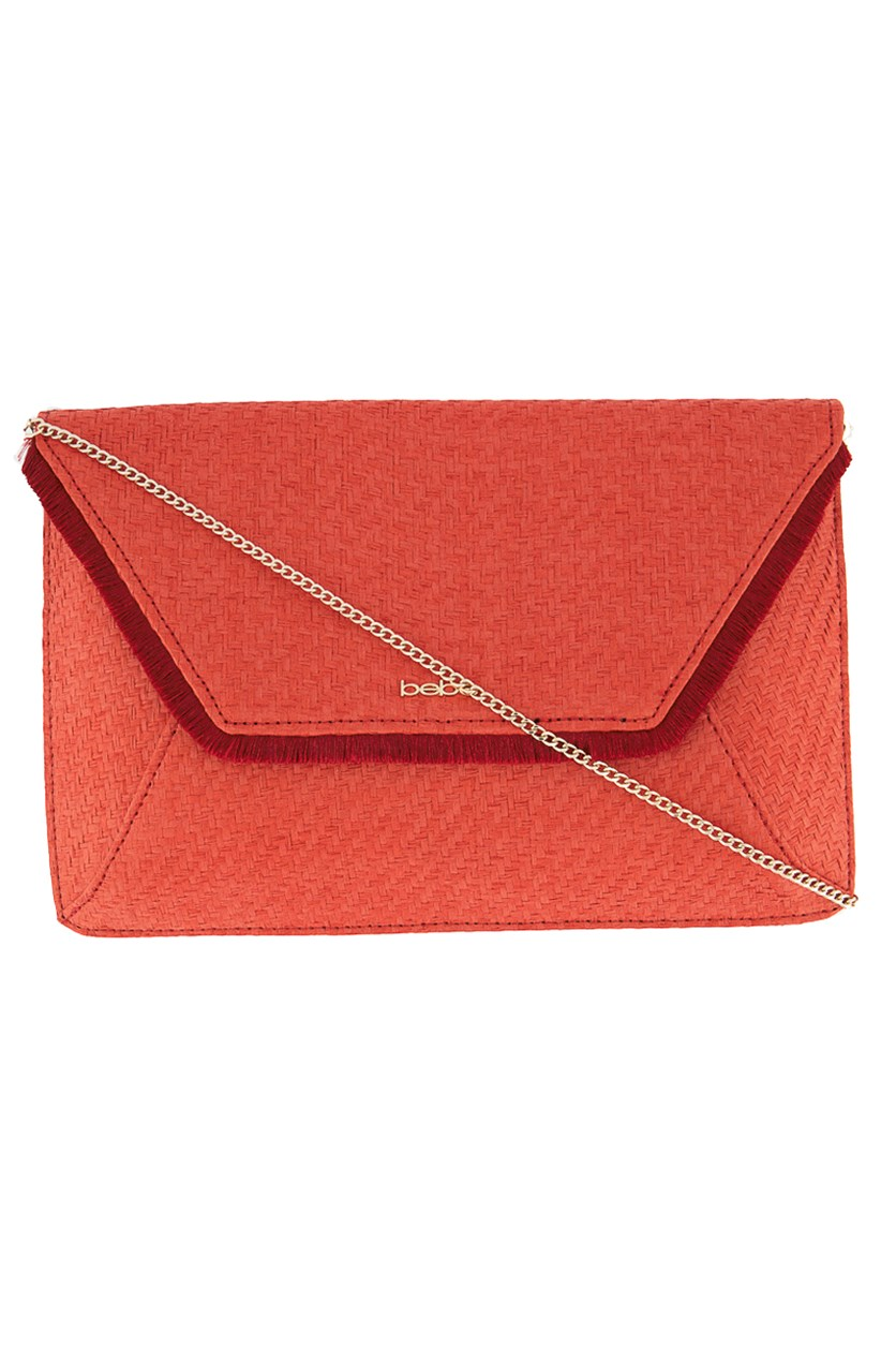 Womens Basket Weave Clutch, Red