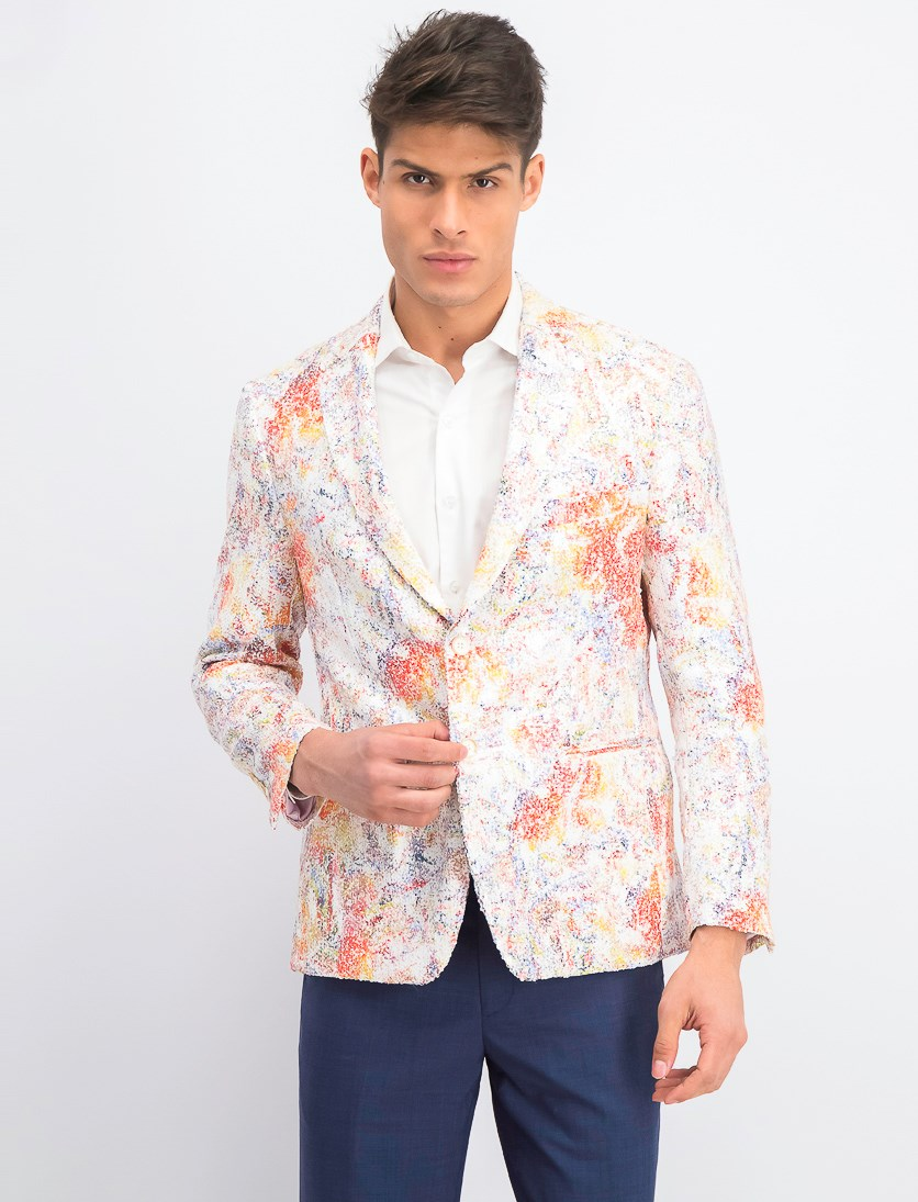 Men's Slim-Fit Printed Sequin Sport Coat, White/Orange Combo