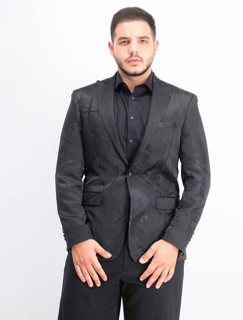 Men's Metallic Tonal Jacquard Dinner Jacket, Black