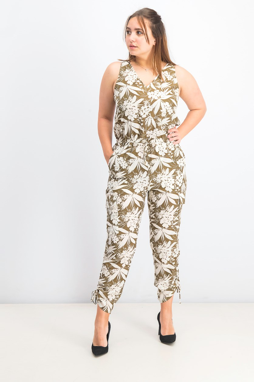 Women's Sleeveless Botanical-Print Jumpsuit, Ivory/Olive