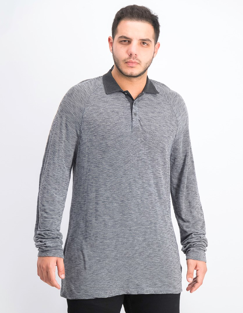 Men's Long Sleeve Stripe Polo Shirt, Charcoal Heather