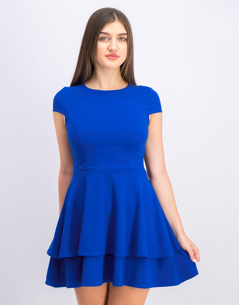 Juniors' Ruffled Bow-Back Fit & Flare Dress, Royal Blue